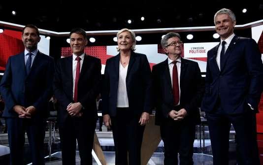 Chacun des cinq invités est intervenu, seul, à travers un entretien de quinze minutes avec la journaliste Léa Salamé, sur France 2, le 17 mai.