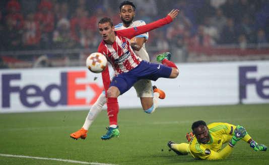 Antoine Griezmann marque le second but pour l'Atlético Madrid lors de la finale de la Ligue Europa, à Lyon, le 16 mai.