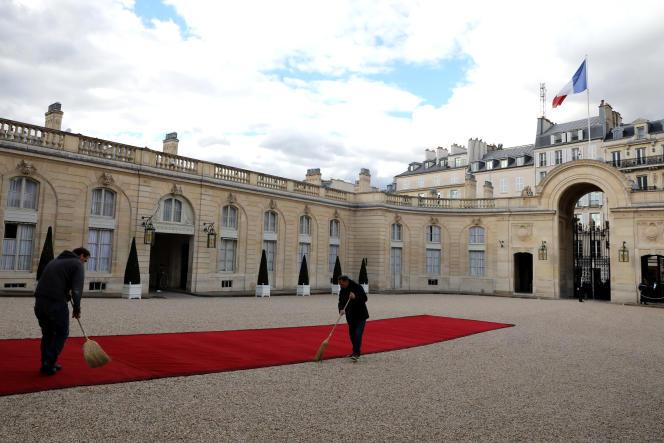 La cour du Palais de l'Elysée, en avril 2018.