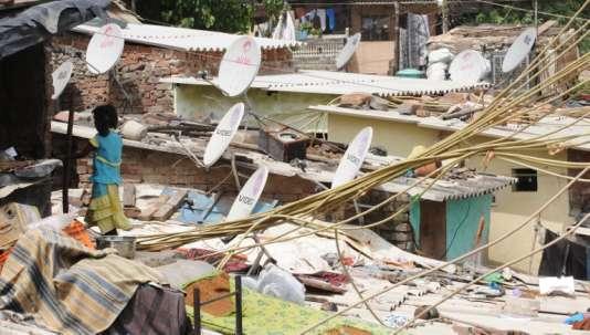Un bidonville de New Delhi, en août 2012.
