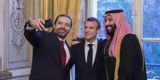 Emmanuel Macron, le premier ministre libanais Saad Hariri (à G.) et le prince héritier d'Arabie saoudite Mohammed Ben Salman,à l'Elysée, le 10 avril.
