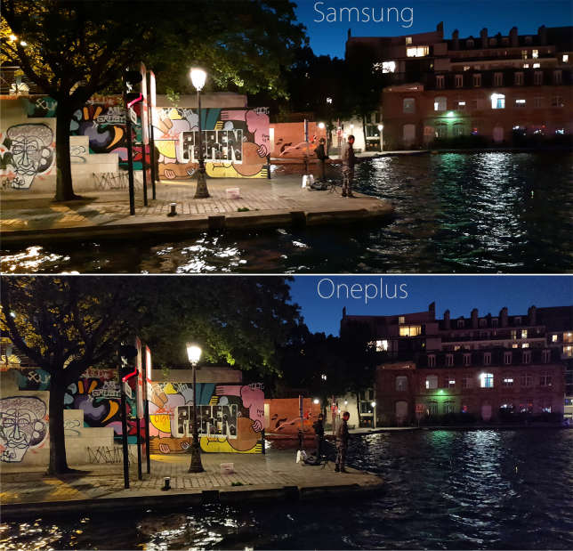 Le Oneplus capture des photos plus propres et plus nettes que le Samsung.