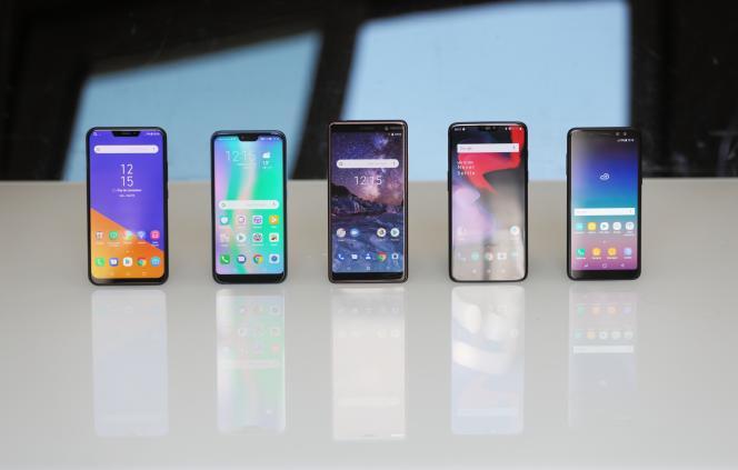 Des modèles de smartphones récents.
