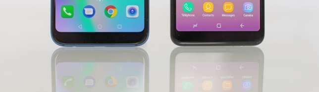 A droite, les icônes du Samsung se ressemblent trop : même forme, même dessin aux lignes blanches, mêmes couleurs primaires. Certains utilisateurs les confondront.