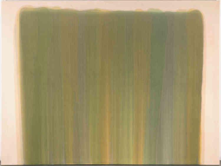 La couleur comme tache : ici, Morris Louis applique la technique de la«stained color»‒ une peinture diluée et répandue sur la toile en couches successives. Sa palette s'apparente à celle de Claude Monet, notamment dans la représentation suggestive‒ et presque voilée‒ de ses nénuphars.