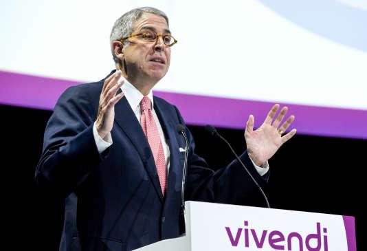 Le président du directoire de Vivendi, Arnaud de Puyfontaine, lors de l'assemblée générale du groupe, le 19 avril, à Paris.