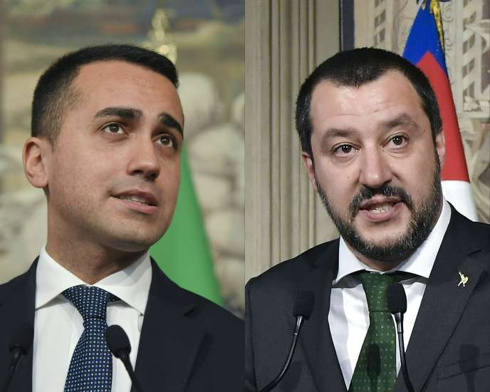 Luigi Di Maio, le leader du M5S, etMatteo Salvini, celui de la Ligue.Les deux formations doivent s'entendre sur le nom du futur président du Conseil.