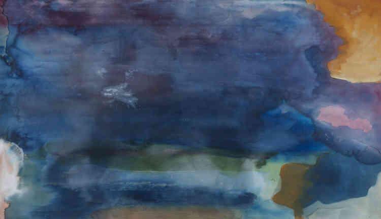 Peinture directement versée sur la toile étendue au sol, couleur fluide‒ presque translucide‒ et saturation du support :Helen Frankenthaler a découvert en 1954 «Les Nymphéas». Ses motifs amples et aquatiques peuvent se rapprocher de la technique utilisée par Claude Monet.