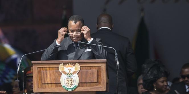 Le président congolais, Denis Sassou-Nguesso, lors des funérailles de Winnie Madikizela-Mandela, à Johannesburg, en Afrique du Sud, le 14avril 2018.