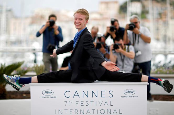 L'acteurVictor Polster, protagoniste du film de Lukas Dhont Girl, à Cannes, le 13 mai 2018.