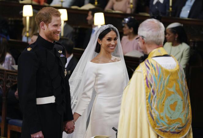 Le prince Harry et Meghan Markle, lors de leur mariage, le18 mai 2018, àla chapelle Saint George du château de Windsor.