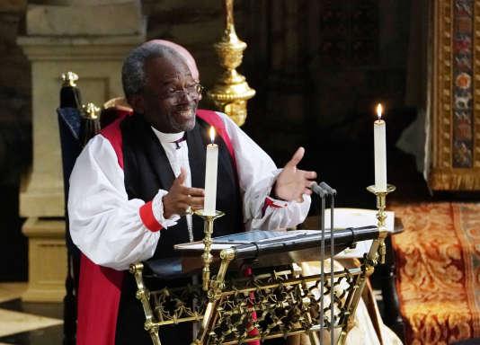 Le révérend Michael Curry prononce son sermon au mariage de Harry et Meghan Markle, samedi 19 mai à Windsor.