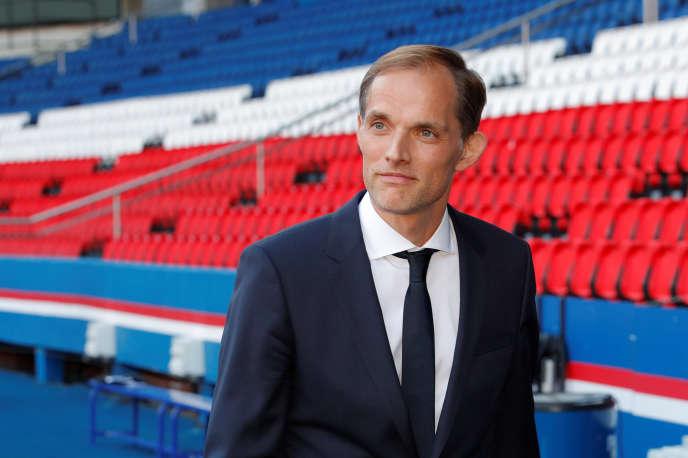 Le nouvel entraîneur du PSG, Thomas Tuchel, lors de sa présentation au Parc des Princes.