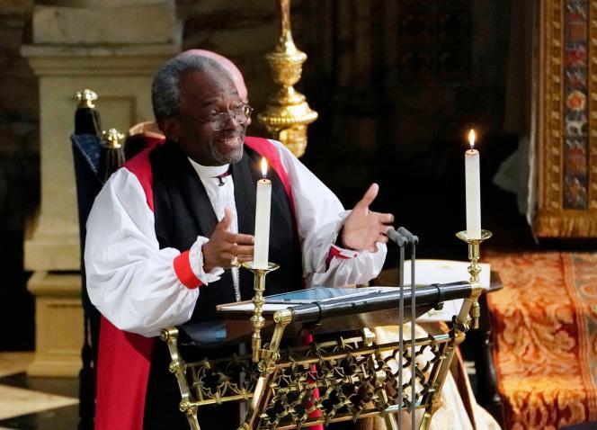 Le révérend afro-américain Michael Curry lors de son sermon à la chapelle Saint-George, à Windsor (Berkshire), le 19 mai.