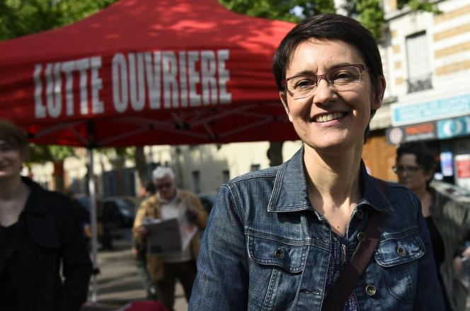 Nathalie Arthaud, porte-parole de Lutte ouvrière, le 11 mai 2017, à Aubervilliers (Seine-Saint-Denis).