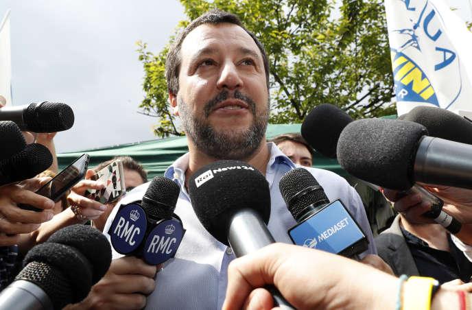 Le chef de file de la Ligue, Matteo Salvini, à Milan, le 19 mai.
