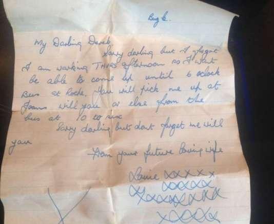 Une lettre d'amour écrite dans les années 1950 par Louie Edyvean à celui qui deviendra son mari, Derek.
