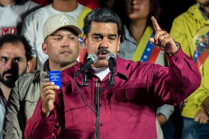 Le président vénézuélien réélu Nicolas Maduro après le résultat des élections, le 20mai, à Caracas.