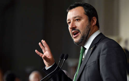 Matteo Salvini, le chef de file de la Ligue qui devrait s'installer au ministère de l'intérieur, à Rome, le 21 mai 2018.