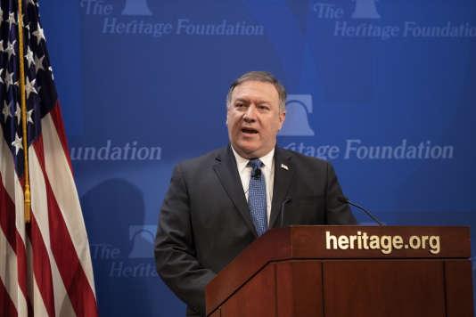 Le secrétaire d'Etat Mike Pompeo à l'Heritage Foundation, un think tank conservateur, à Washington le 21mai 2018.