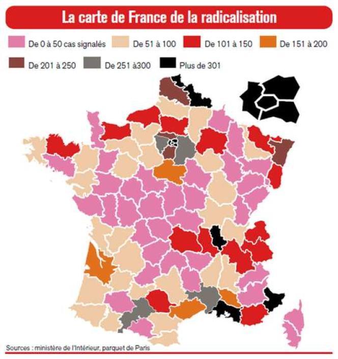 La carte de la radicalisation publiée par le «Journal du dimanche», le 9 octobre 2016.