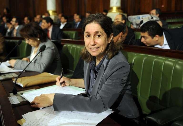 Maya Jribi à l'Assemblée nationale constituante, le 8 décembre 2011, à Tunis.