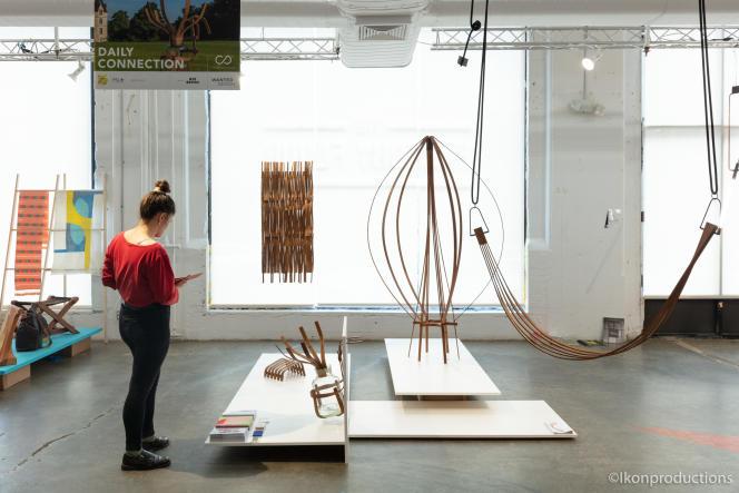 Stand de l'ENSAD à WantedDesign Brooklyn, avec les créations en bambou réalisées au Domaine de Boisbuchet, en Charente.