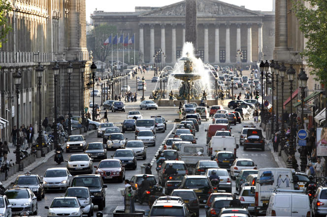 Embouteillage près de la place de la Concorde à Paris.