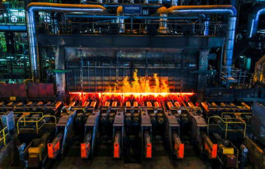 A l'usine ArcelorMittal de Ghent, en Belgique, le 22 mai.