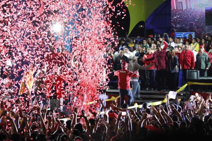 Le président vénézuélien Nicolas Maduro, après l'annonce des résultats du scrutin, dimanche 20 mai à Caracas.