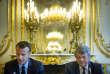 Emmanuel Macron et Jean-Louis Borloo lors du Conseil présidentiel des villes, au palais de l'Elysée, le 22 mai.