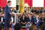 Emmanuel Macron, président de la République, s'exprime devant des habitants et acteurs des banlieues à l'Elysée, le 22 mai.