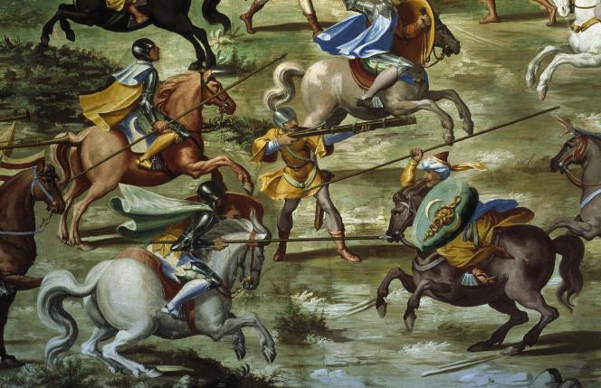 « La Bataille de Higueruela » (1431, durant la Reconquête), fresque anonyme du XVIe siècle, à l'Escurial.