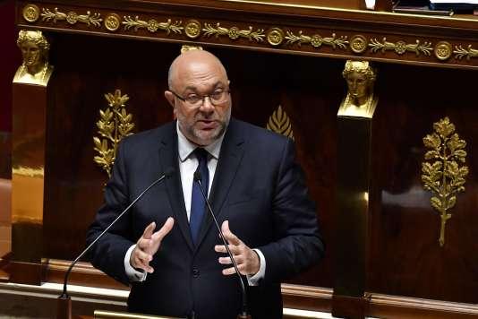 Le ministre de l'agriculture, Stéphane Travert, présentant le projet de loi agriculture et alimentation, à l'Assemblée nationale, le 22 mai.