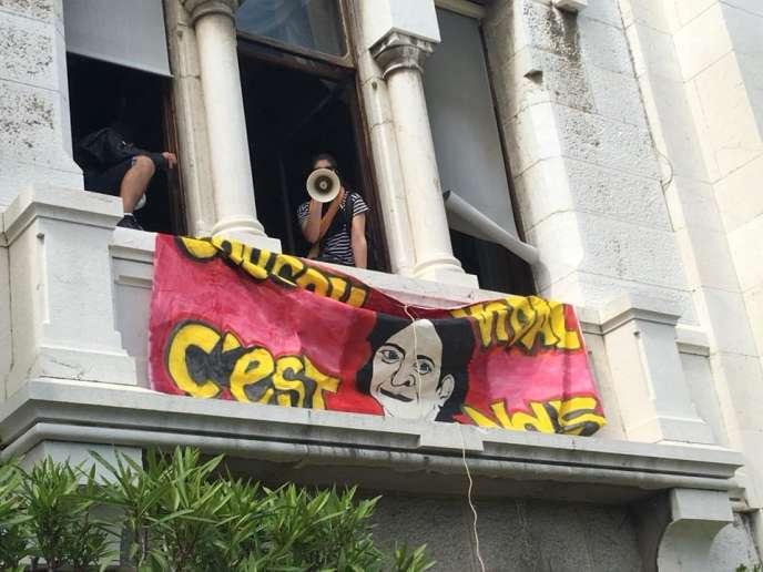 Lors de l'occupation du château de Valrose, à Nice, par des étudiants opposés à la réforme de l'université.