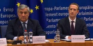 Le président du Parlement européen Antonio Tajani et Mark Zuckerberg.