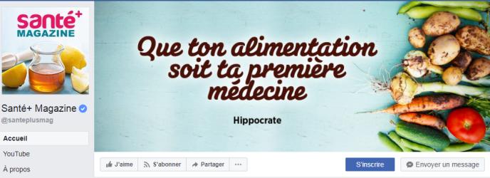 Page Facebook de Santé+ Magazine.