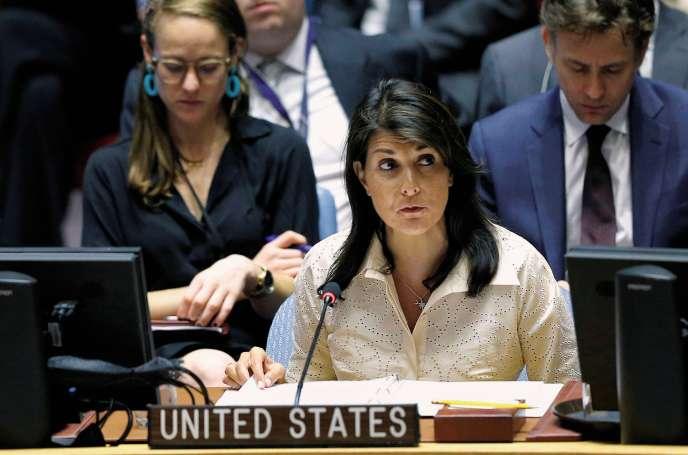 L'ambassadrice américaine, le 15 mai, lors de la réunion des Nations unies sur les violences à Gaza intervenues le lundi 14 mai.