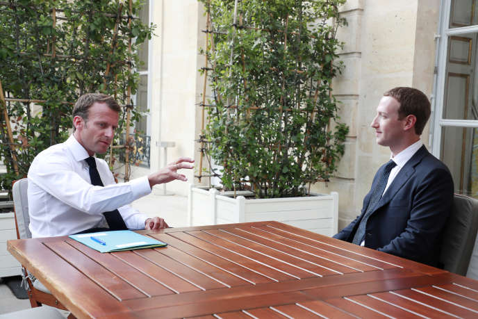 Emmanuel Macron and Mark Zuckerberg at Elysée on May 23rd.