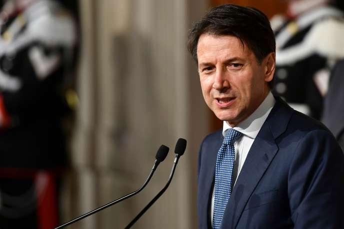 Giuseppe Conte, le 23 mai 2018, au palais du Quirinal, à Rome.