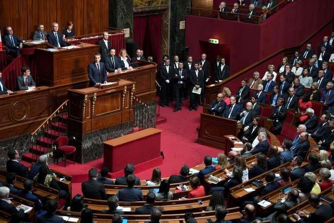 Emmanuel Macron à la tribune du Congrès, à Versailles, le 3 juillet 2017.