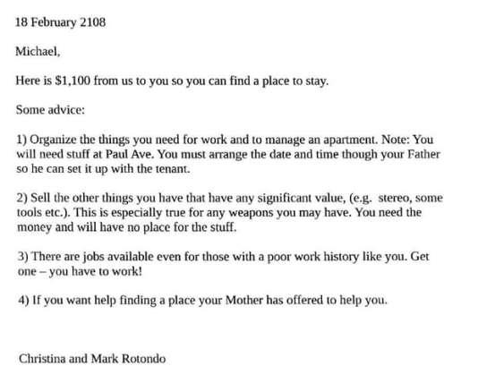 La troisième lettre de Mark et Christina Rotondo.