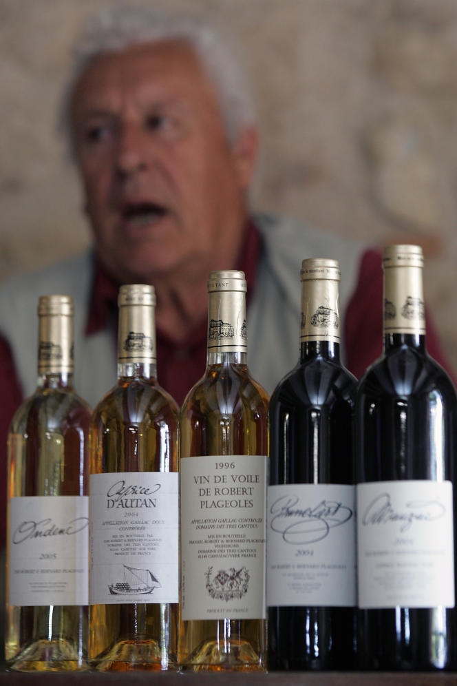 Le vigneron, archéologue, historien, climatologue et ampélographe (qui étudie les variétés de cépages) Robert Plageoles, 71 ans, propriétaire de 25 hectares dans le vignoble de Gaillac, pose dans son chai le 31 mai 2006 à Gaillac.