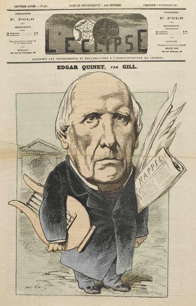 Edgar Quinet, dessin de Gill en« une» de «L'Eclipse» du 8 novembre 1874.