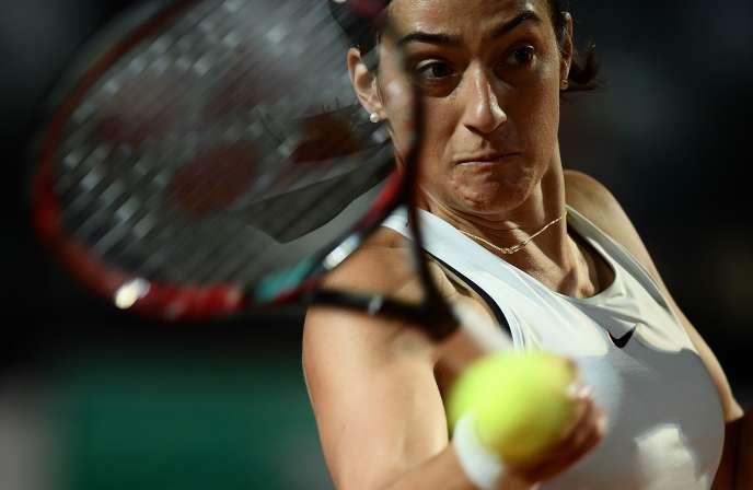 La Française Caroline Garcia lors de la finale du tournoi de Rome face à la Roumaine Simona Halep, le 18 mai.