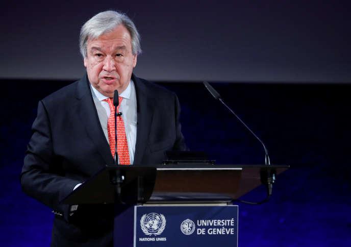 Le secrétaire générale de l'ONU, Antonio Guterres, lors de son discours sur le désarmement, à Genève, le 24 mai 2018.