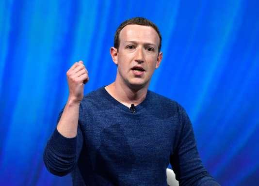 Le PDG de Facebook, Mark Zuckerberg, lors de son discours durant le sommet VivaTech à Paris, le 24mai 2018.