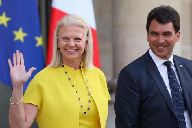 Invitée à l'Elysée le 28 mai 2018 à l'occasion du sommet Tech for Good, l'ancienne patronne d'IBMVirginia Rometty avait promis la création de 1800 emplois en France.