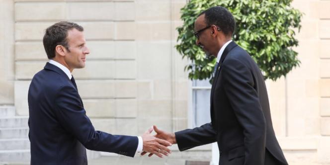 Les présidents français, Emmanuel Macron, et rwandais, Paul Kagame, au palais de l'Elysée, à Paris, le 23mai 2018.