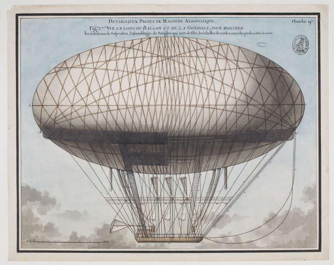 Planche 9 : « Détails d'un projet de machine aérostatique. Vue en long du ballon et de la gondole».
